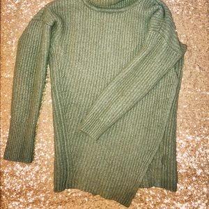 Olive Green Cross Over Front Sweater